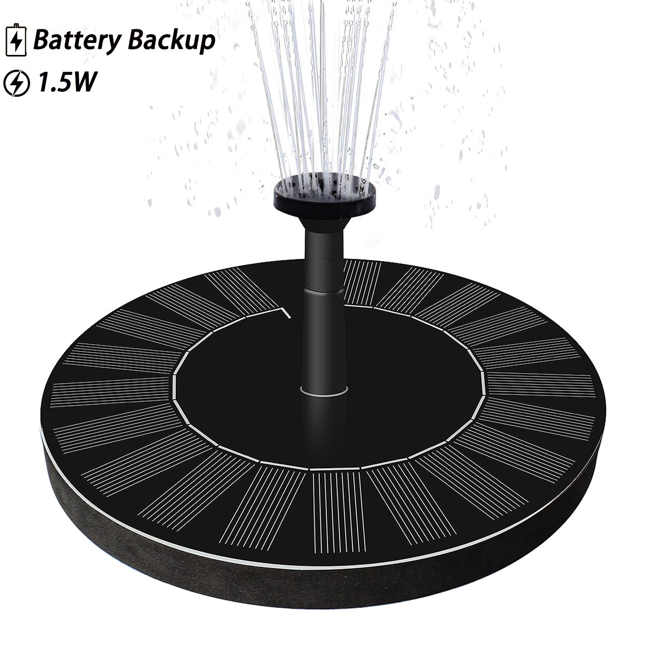 LATITOP Upgraded 1.5W Solar Fountain Water Pump Battery Backup, Free Standing, Submersible Bird Bath, Garden, Back Yard Small Pond.