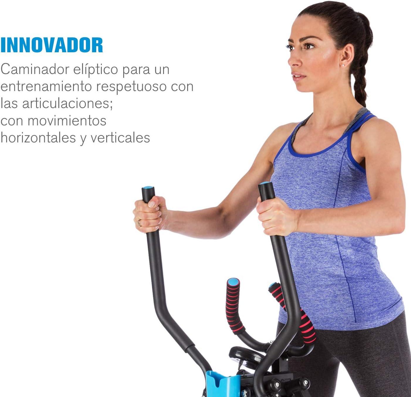 Capital Sports Air-Walker - Bicicleta elíptica, Caminador, Completo, Movimiento Horizontal y Vertical, Ordenador, Pantalla LCD, Soporte de Tablet, Plegable, hasta 100 kg, Negro: Amazon.es: Deportes y aire libre