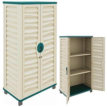 Gabinete de plástico de exteriores para casetas, jardín, garaje, casa, patio, herramientas de jardín o de limpieza: Amazon.es: Jardín