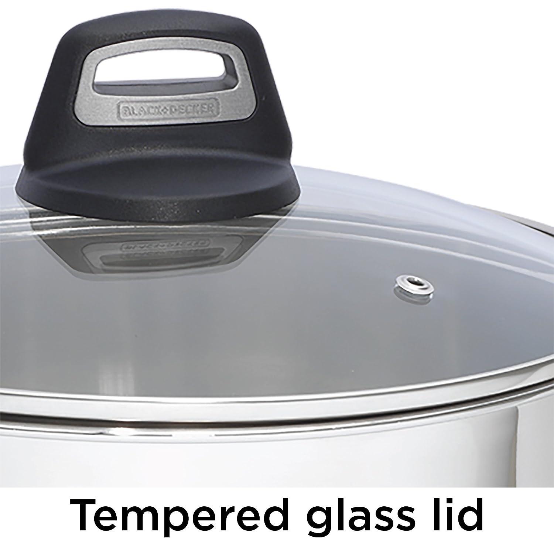 BLACK+DECKER 83382 Durable Stainless Steel Fry Pan 12 Decker Cookware Silver 12 Black