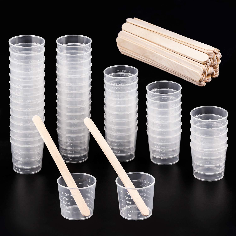 r/ésine /époxy Taches LEEQ Lot de 50/Plastique 30/ML gradu/é Tasses Transparent /Échelle Tasses avec Lot de 50/en Bois m/élanger B/âtons pour m/élanger Peinture