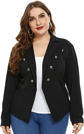 Women Plus Size Casual Blazers Open Front Long Sleeve Work Office Suit Jacket