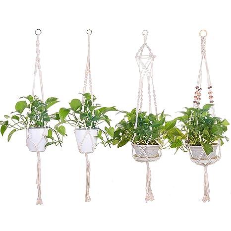 Ulikey Colgador para Plantas Soporte de Macetas, para Colgar en la Pared, con Llavero para Decoraciones Interior y Exterior, Balcón (4 Piezas)