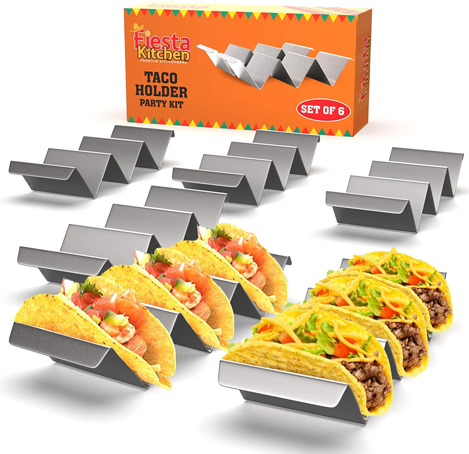 Stainless Taco Holders Stand Taco Rack for Hard or Soft Shell Tacos 2 Tacos