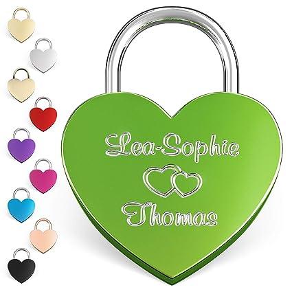 LIEBESSCHLOSS-FACTORY Candado de amor Verde grabado en forma de corazón. Caja de regalo gratis y mucho mas.Diseña tu castillo ahora grabado!