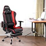 Merax Racing Style High-back Gaming Chair Ergonomic Design Office Chair Swivel Computer Chair with Footrest (red and black)