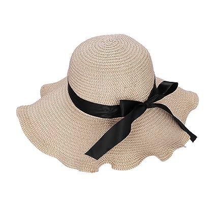 ITODA Summer Foldable Straw Sun Hat UPF 50+ Beach Wide Brim Adjustable  Anti-UV fe7cbf5dbc97