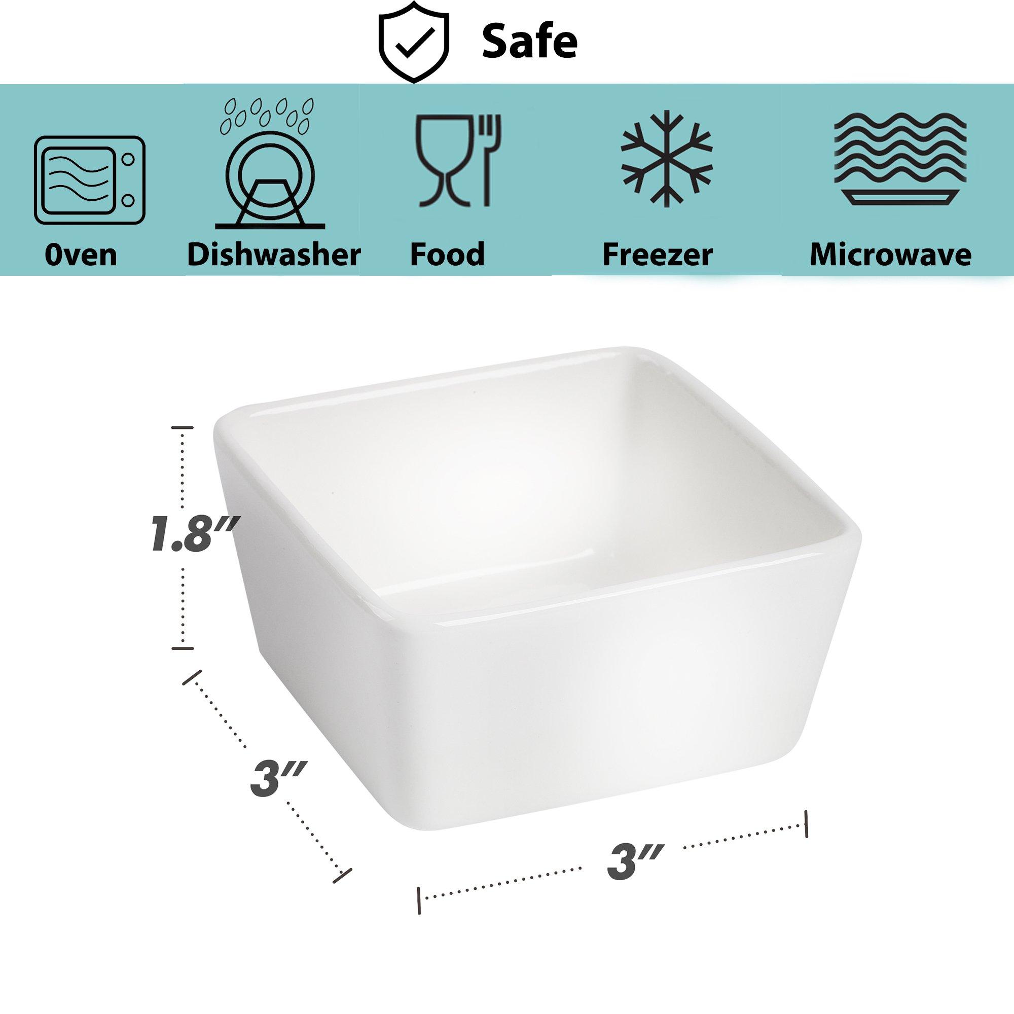 BTäT - Ramekins 8 oz - Set of 8 Square, Porcelain Ramekins, Ramekins for Baking, Creme Brulee Dish, Souffle Cups, Appetizer Cups, Custard Dish, Pudding cups, Ramiken Set, Dipping Bowl. by Brew To A Tea (Image #4)