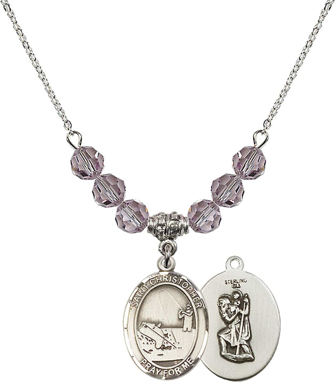 Bonyak Jewelry 18 Inch Rhodium Plated Necklace w// 6mm Light Purple February Birth Month Stone Beads and Saint Christopher//Fishing Charm