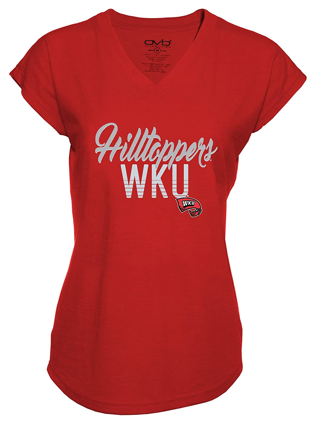 Old Varsity Brand NCAA Western Kentucky Hilltoppers Ladies Tri-Blend V-Neck T-Shirt Red Small