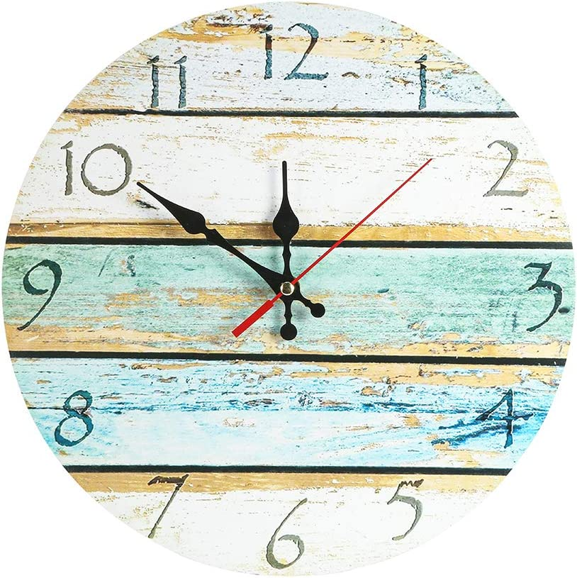 LOHAS Home 12 Inch Silent Vintage Design Wooden Round Wall Clock (Coast Road)