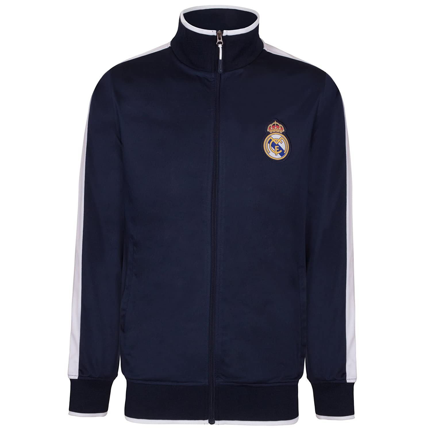 Real Madrid Official Football Gift Boys Retro Track Top Jacket Navy Blue