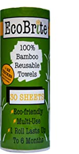 Reusable Paper Towels - Heavy Duty & Machine Washable Bamboo Towels - Great As Swedish dishcloths, Kitchen Towels, Dish Towels, Cleaning Towels & More- 30 Sheet/Roll- One Roll Last Up to 6 Months