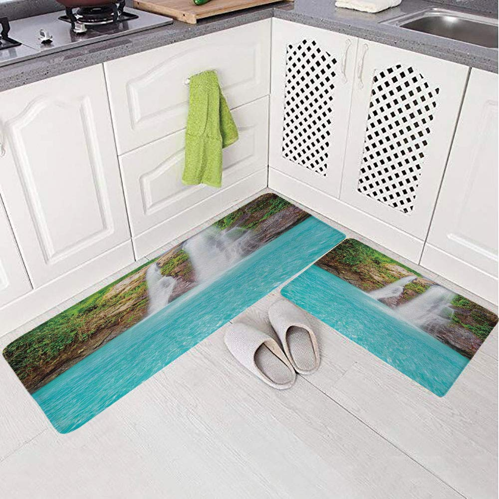 2 Piece Non-Slip Kitchen Mat Rug Set Doormat 3D Print,Natural Pool Plants Sunbeams Summer Day View,Bedroom Living Room Coffee Table Household Skin Care Carpet Window Mat,