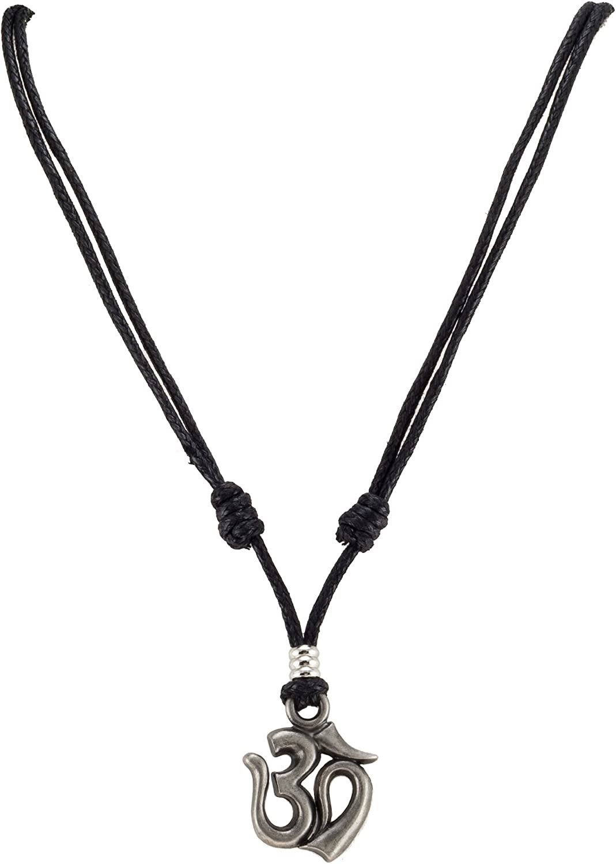 Om Pendant on Adjustable Black Rope Cord Necklace Aum