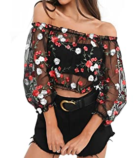 3a56657674 Women s Sexy Off Shoulder Floral Embroidered See Through Mesh Blouse Top Tee