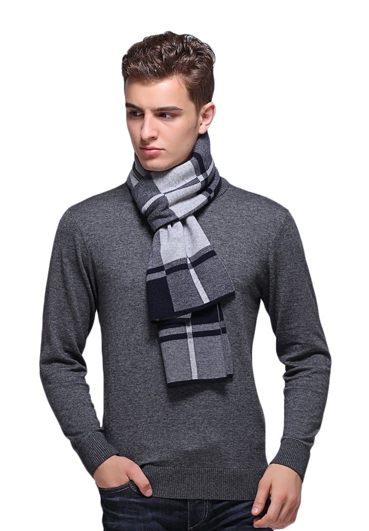 RIONA Men's 100% Australian Soft Merino Wool Knitted Plaid Warm Scarf with Gift Box(Light Grey)