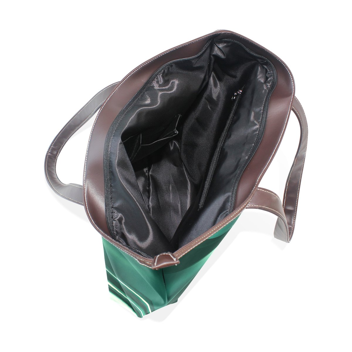 SCDS Dark Green Background PU Leather Lady Handbag Tote Bag Zipper Shoulder Bag