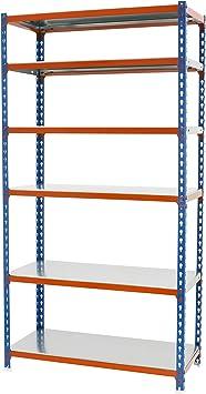 Estantería metálica sin tornillos Simonclick de 6 estantes Azul/Naranja/Galva Simonrack 2500x800x400
