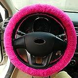 Whitelotous Plush Car Steering Wheel Cover Set Soft Elastic Winter Warm Car Steering Wheel Accessory