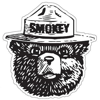 """StickyChimp Smokey the Bear Firefighting WILDFIRE sticker 4"""" x 4"""",Black: Automotive"""