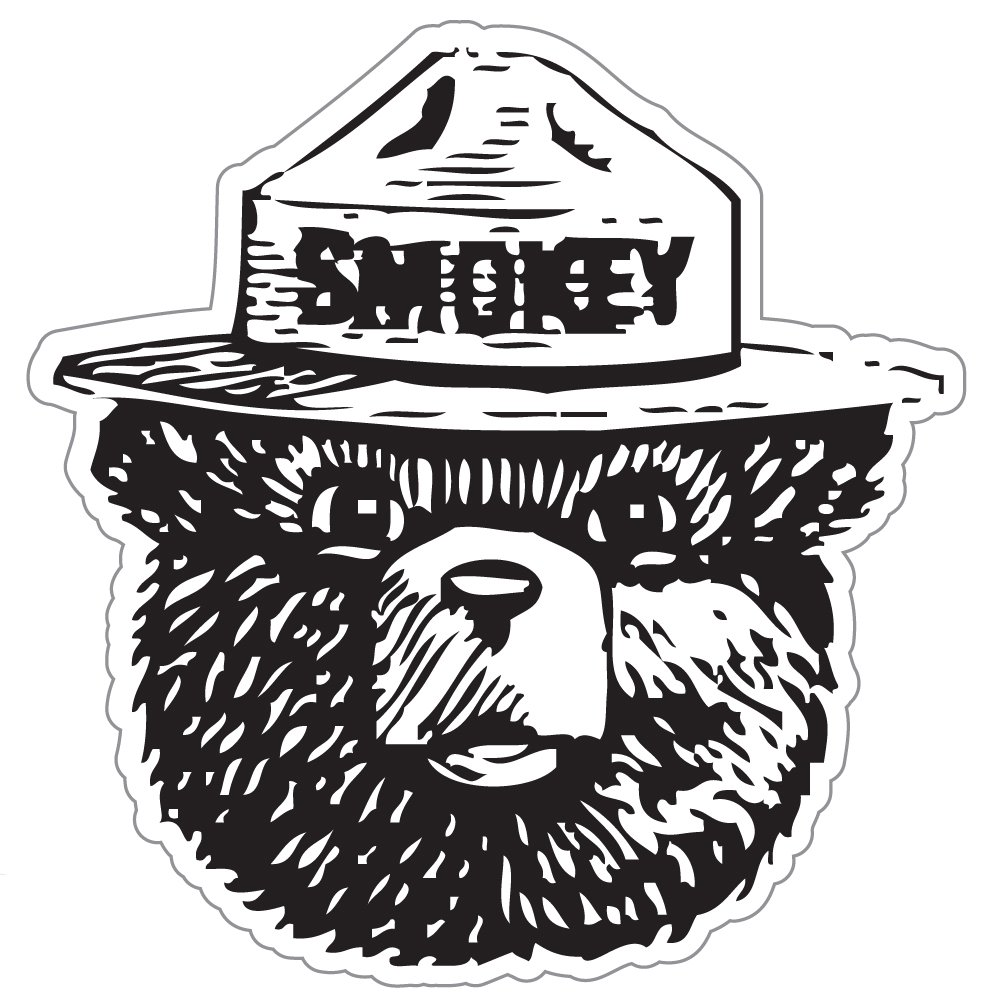 StickyChimp Smokey the Bear Firefighting WILDFIRE sticker 4'' x 4'',Black