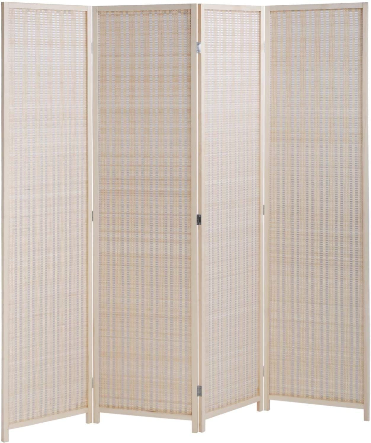 Bamboo Room Divider Folding Privacy Screen for Living Room Bedroom Study, Good Opacity Partition, Divider Has Anti-Slip Mats, Light and Easy to Move, Best Home Foldable Privacy Screen – 72 H 17.7 W