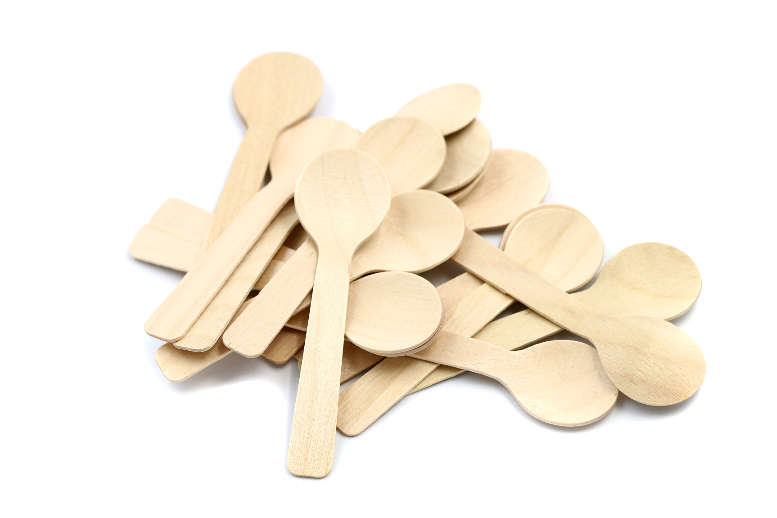 COOBL 3.9 Inches Mini Kitchen Wooden Ice Cream Dessert Spoons Disposable Wood Cutlery Tableware ,Pack of 200