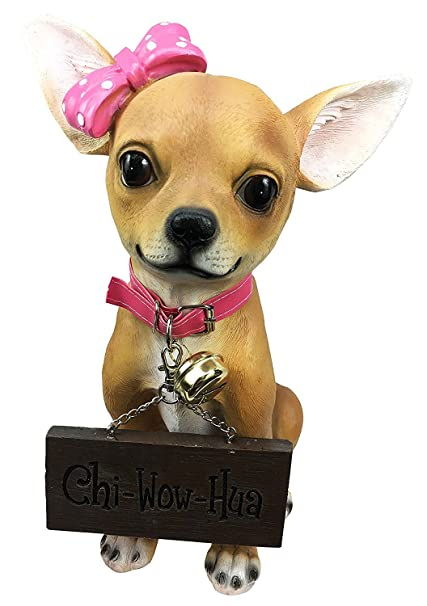 Adorable Pink Ribbon Teacup Chihuahua Dog Large Figurine With Welcome Sign  Jingle Collar Statue For Dog Lovers Chihuahua Fans Breeders Owners