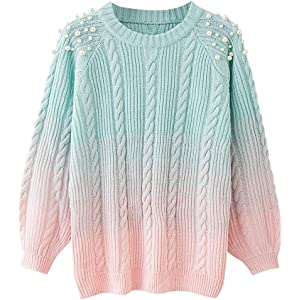 3122ebe74c CharMma Women s Round Neck Long Sleeve Color Block Beaded Ribbed Knit  Sweater