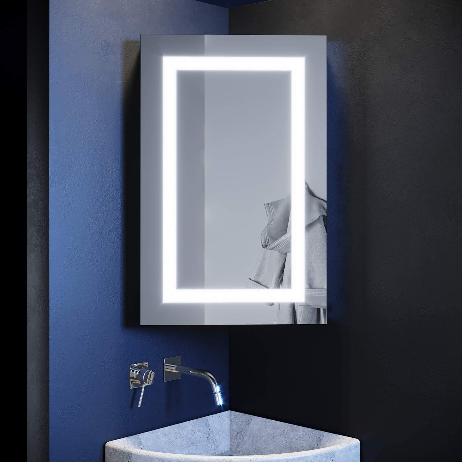 Elegant Illuminated Bathroom Corner Mirror Cabinet With Lights Wall Mounted Stainless Steel Frame Led Bathroom Mirror With Shelf 450 X 700mm Amazon Co Uk Kitchen Home