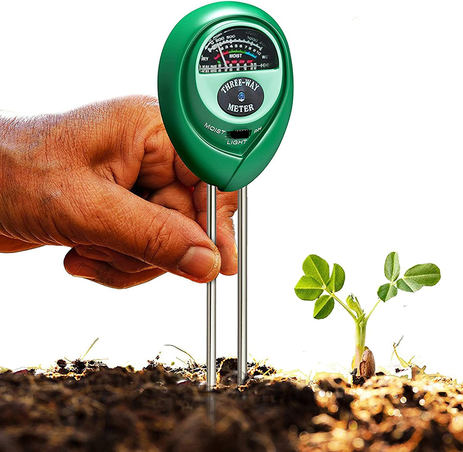 Soil Tester, 3-in-1 Soil Moisture/Light/pH Meter, Gardening Lawn Farm Test Kit Tool, Digital Plant Thermometer Probe, Water Hydrometer Sunlight Tester for Indoor Outdoor, No Battery Required (Round)