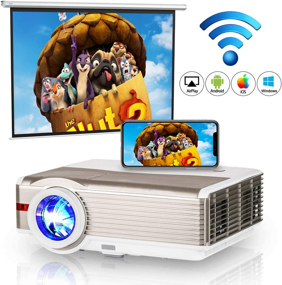 WIKISH Bluetooth Wifi Projector 5000 Lumen with HDMI USB VGA AV for Indoor Outdoor Movie TV Box DVD Player Laptop PS4,Support 1080P 200 Inch Display