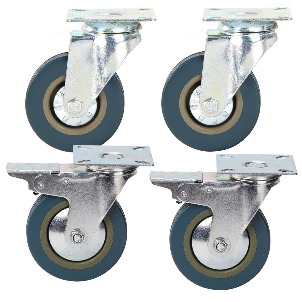 PetHot 4pcs Heavy Duty Rubber Swivel Castors 100mm Wheels Trolley Furniture Caster JY