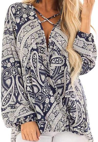 Lenfesh Camisa con Cuello V Cruz Sexy Camisetas Mujer Otoño Manga Larga Camisas Floral Imprimir Blusa Tops de Gasa Mujer: Amazon.es: Ropa y accesorios