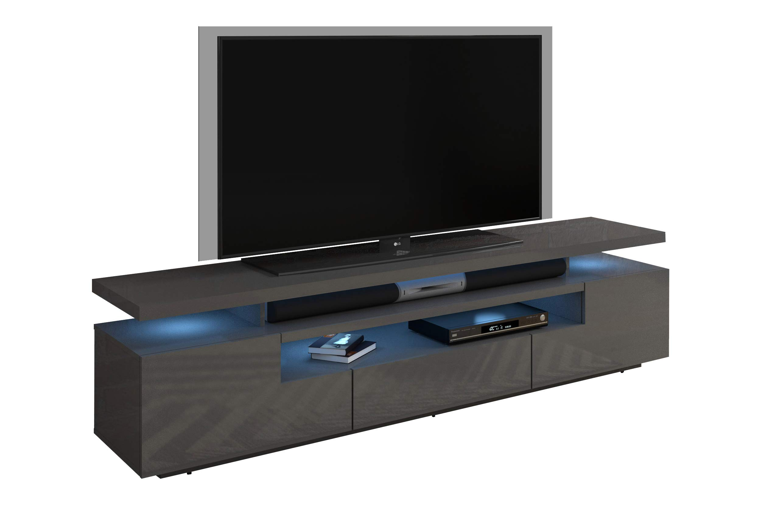 MEBLE FURNITURE & RUGS Eva 79'' Modern High Gloss TV Stand with 16 Color LEDs (Dark Gray) by MEBLE FURNITURE & RUGS
