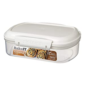 Sistema Bake IT Collection Food Storage Container, 3.0 Cup/0.7 L, Clear/White