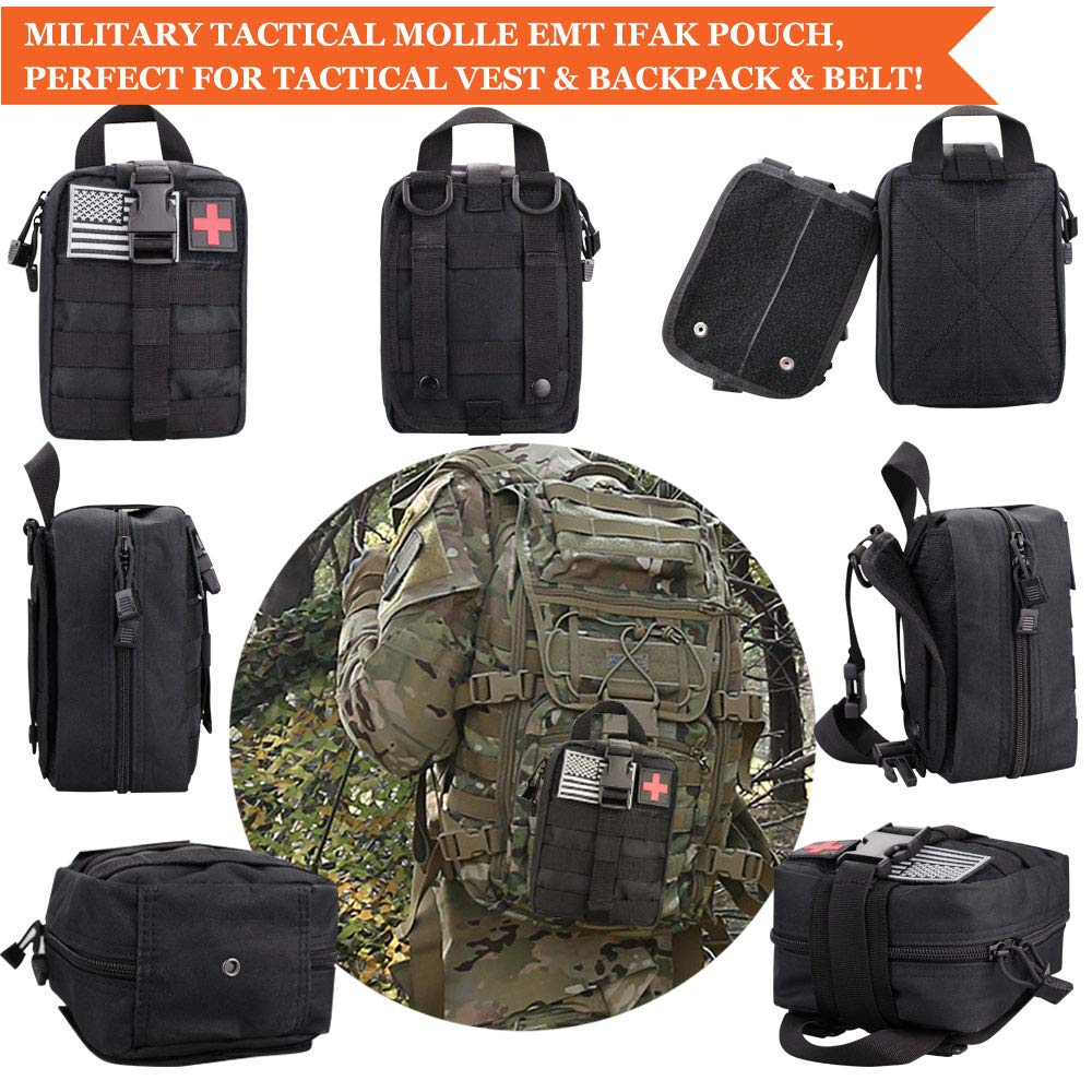 Monoki First Aid Survival Kit, 302Pcs Tactical Molle EMT IFAK Pouch Outdoor Gear EDC Emergency Survival Kits First Aid Kit Trauma Bag for Hiking Camping Hunting Car Travel or Adventures(Black) by Monoki (Image #2)