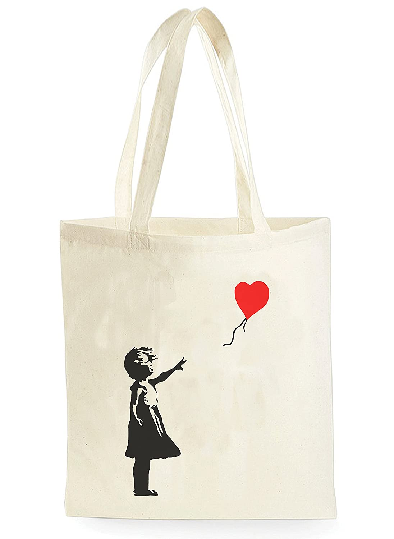 tote bag Uk Print King Banksy Balloon Girl Sac de march/é fourre-tout pour le magasinage le pique-nique le stockage /à la maison et l/école