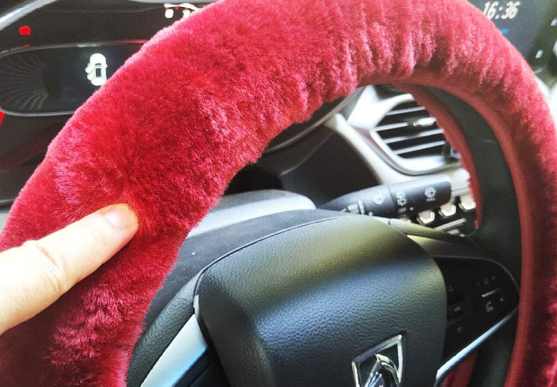 38cm 3pcs set Winter Warm furry Steering Wheel Cover/&Handbrake Cover/&Gear Shift Cover Set Faux Wool Uinversal Plush Non-Slip Car Interior Accessories-14.96 black for manual
