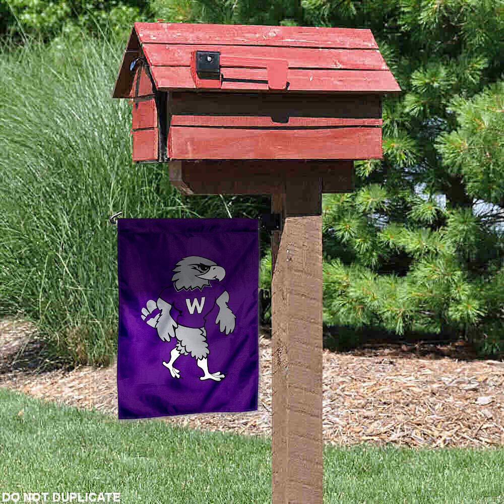 College Flags and Banners Co UWW Warhawks Willie Mascot Garden Flag
