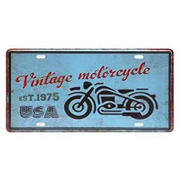 Chitop USA Vintage Metal Tin Signs Route 66 Car Number License Plate Plaque Poster - Bar