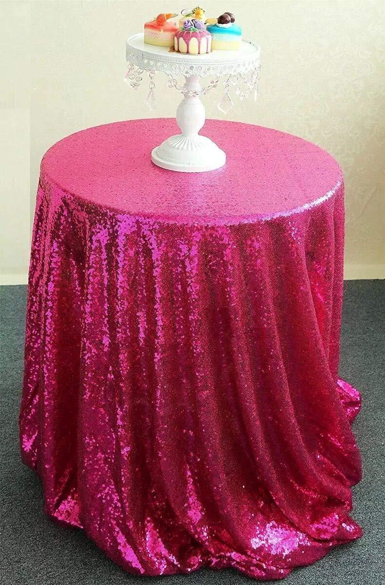 KSFDNV Konferenztafel, Hochzeitstraksel, Thementisch-Cover, Rosa Pailletten-tablette, Rundtisch-tablette, Silbernes Tischtuch, Party 228335cm Mae rot