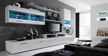 Home Innovation Mobile Soggiorno Parete Da Soggiorno Moderno Con Led Bianco Mate E Bianco Laccato Dimensioni 250 X 194 X 42 Cm Di Profondita Amazon It Casa E Cucina