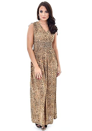 Womens Summer Maxi Dresses Floral Animal Print Tiger Leopard With Shoulder  Tie  Amazon.co.uk  Clothing 2a1003c1f