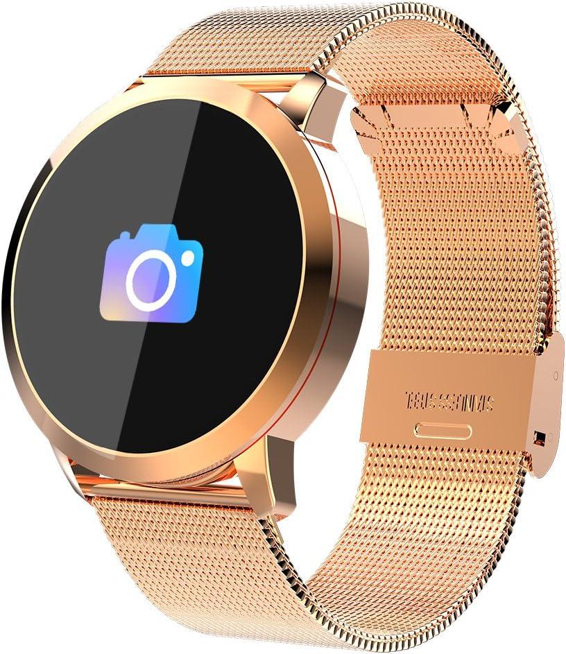 Smartwatch, Reloj Inteligente Bluetooth Smart Watch Hombres Mujeres Niños IP67 Impermeable Deportes Fitness Tracker,Pulsómetro,Recordatorio de llamada,Podómetro,SMS,Pulsera para Android y iOS (Gold)