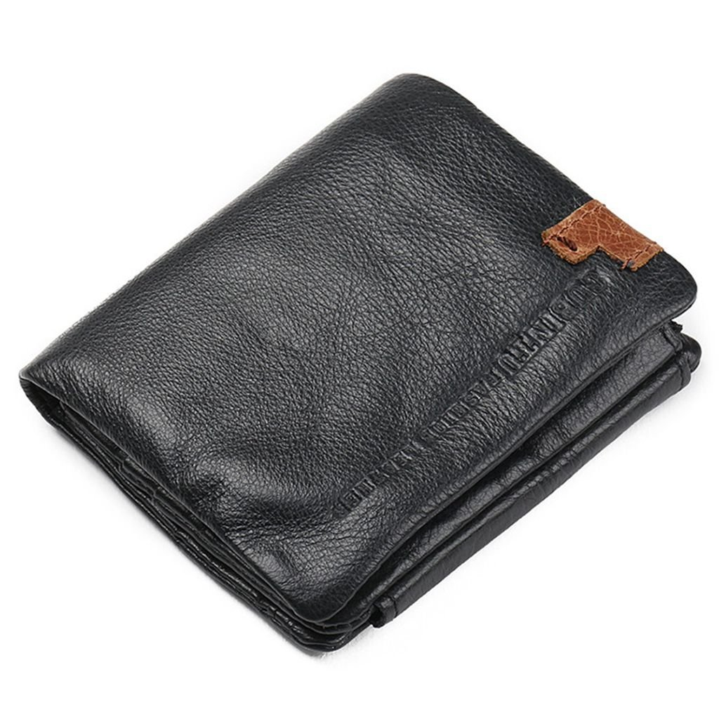 Prime Clearance Sale & Deals Day 2017-Fashion Style Trifold Wallets Genuine Leather Men Wallets Man Credit Card Holder Zipper Coin Pocket Purse (Short B)