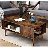 KingSo Retro Coffee Table Mid Century Modern Coffee Table with Storage Shelf for Living Room Vintage Coffee Table…