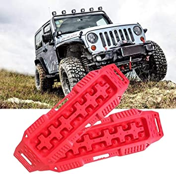 Snow Tire Traction FIREBUG Off-Road Recovery Track Black Tracktion Mat Traction Boards Sand 2 Pcs Recovery Tracks Traction Mat for 4X4 Jeep Mud