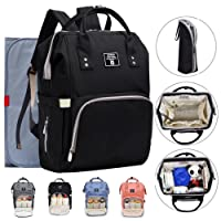 Baby Diaper Backpack Bag Unisex Nappy Changing Rucksack with Waterproof Changing Pad,Pushchair Straps Change Bag Backpack for Mum Dad (Black)